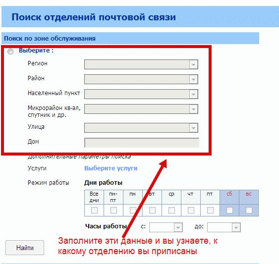 Введите свой адрес, и сайт покажет ваше почтовое отделение