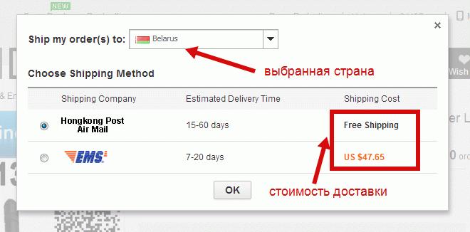Способы доставки с Алиэкспресс в Беларусь