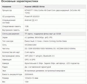 Характеристики Huawei U8832D Shine